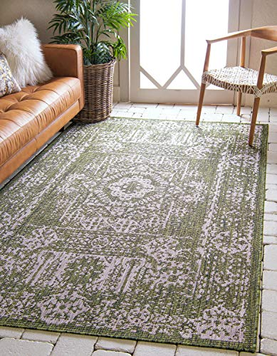 (Unique Loom Outdoor Traditional Collection Distressed Vintage Medallion Transitional Indoor and Outdoor Flatweave Green  Area Rug (4' 0 x 6')