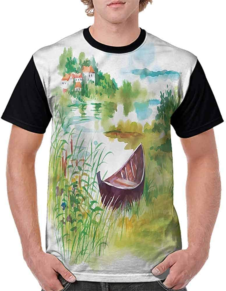 BlountDecor Cotton T-Shirt,Rural Countryside Photo Fashion Personality Customization