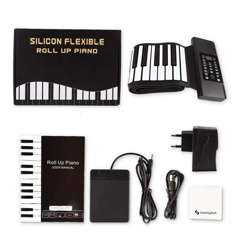 Thickened Roll Up Piano Folding Silicone Hand Roll Keyboard Electronic Digital Piano Keyboard Multifunction 88-Key, Black by Anyer Piano (Image #8)