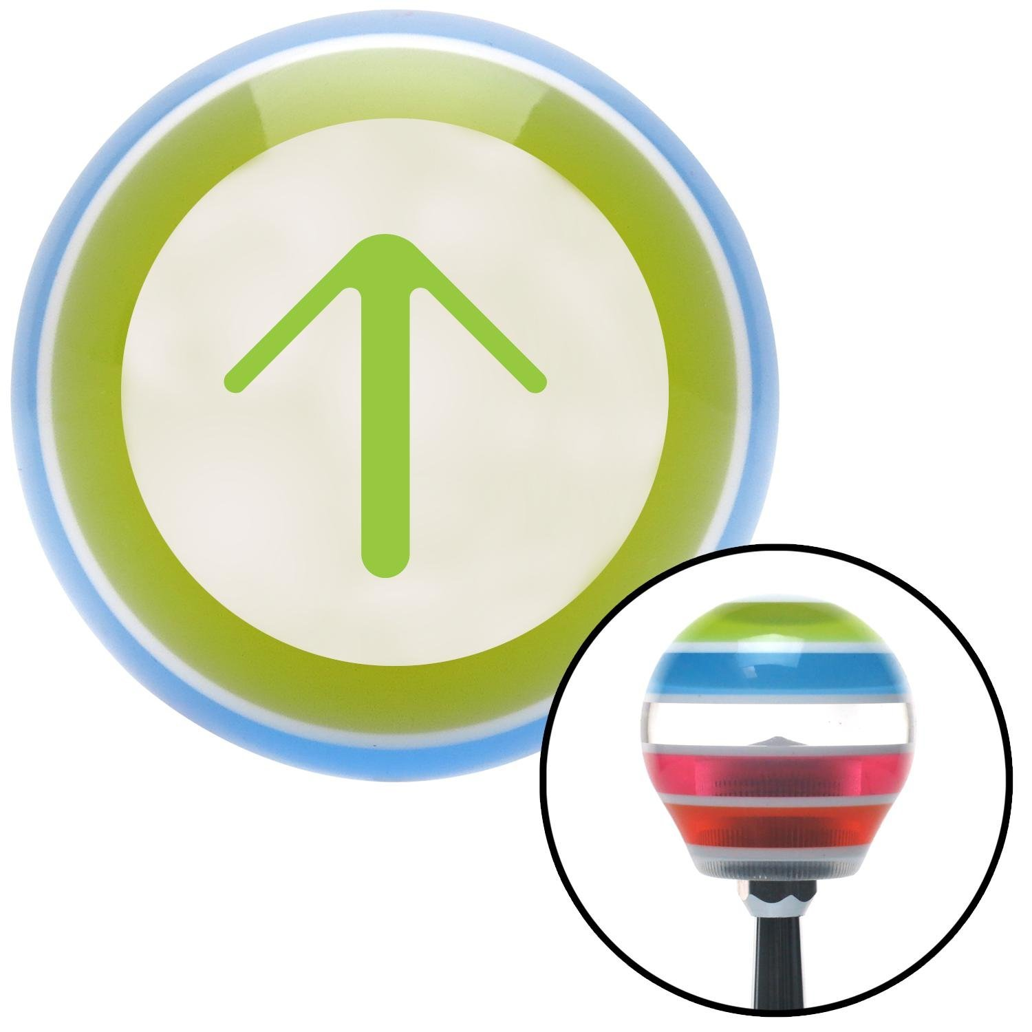 American Shifter 131037 Stripe Shift Knob with M16 x 1.5 Insert Green Solid Pointing Arrow Up