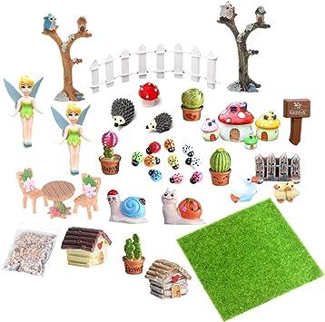 EQLEF Miniaturas Jardin, Mini Accesorios de Hadas para jardín Adornos en Miniatura para casa de muñecas de Bricolaje Paisaje Decoración 39 Piezas: Amazon.es: Juguetes y juegos