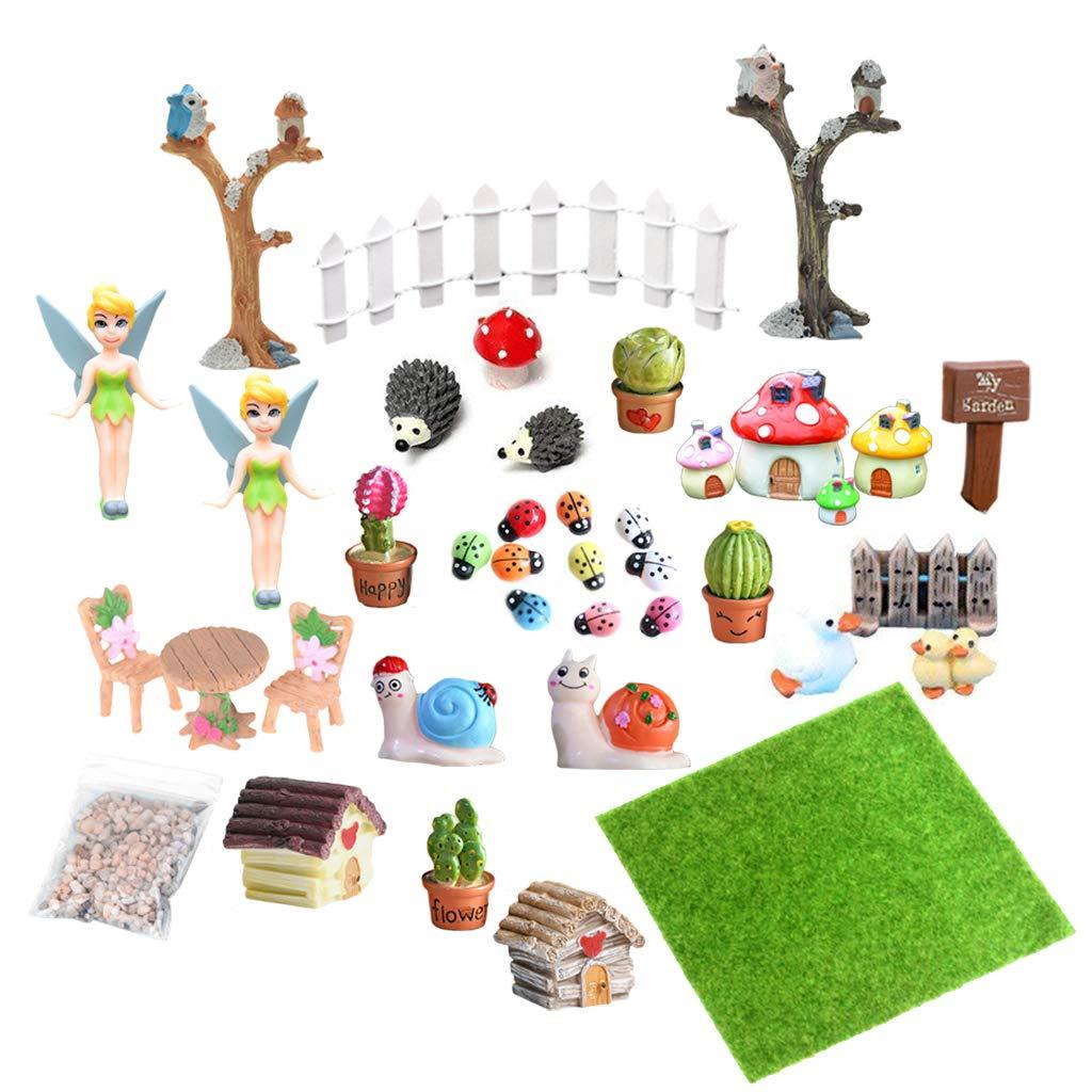 EQLEF Miniature Fairy Garden Mini Fairy Garden Accessories Miniature Ornaments for DIY Dollhouse Landscape Decor 39 Pcs
