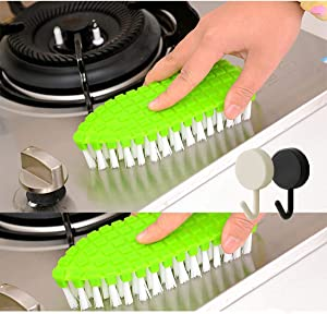 2 Pack Fruit and Vegetable Cleaning Brushes, Washing Carrot Potato Root Scrubber Food Kitchen Cleaning Tools Flexible Vegetable Brush(with 2 Sticky hooks)(Green)