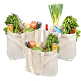 """ATBAY 100% Cotton Canvas Washable Grocery Tote Bag with Long Shoulder Strap 13 5/8"""" L and Removable Bottom Base Stiffener Insert - Natural (3 Pack)"""
