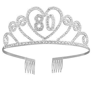Lurrose Corona Cumpleaños 80 Años Diadema Cumpleaños Tiara ...