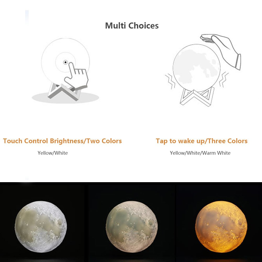 Halova Wch8141 Night Light 3d Printing Moon Lamp Lunar Usb Charging Brightness Control For Small Lamps Circuit Touch Two Tone