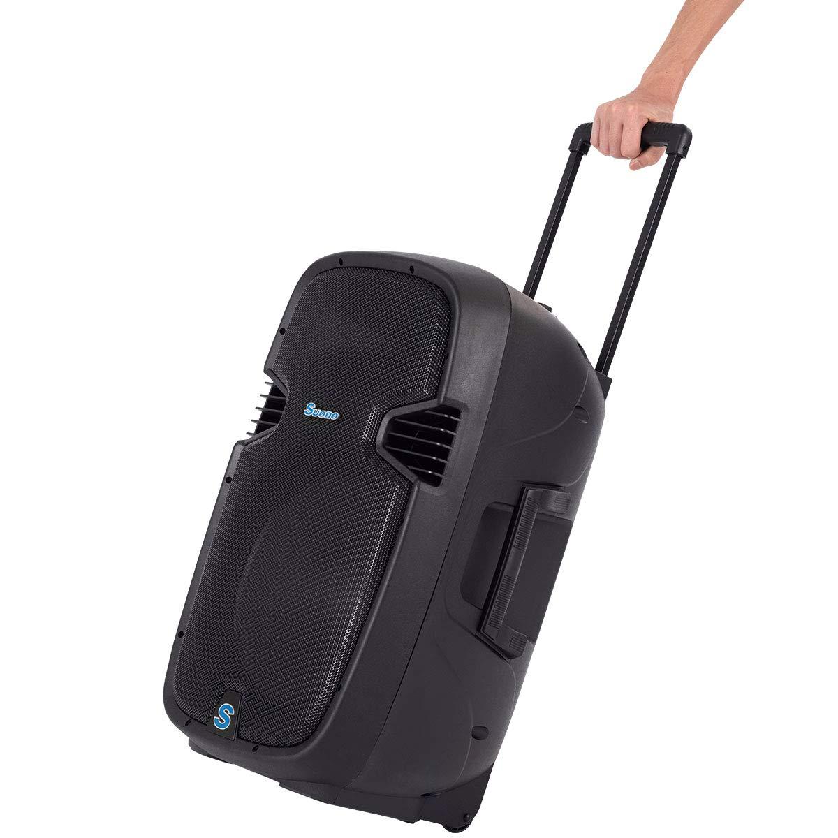 Suono Powered Speakers, 2-Way Full Range Portable DJ/PA Speaker System Set With Microphones/USB/Bluetooth (15'' 1000W) by Suono (Image #6)