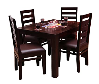 Induscraft Modern Wooden Dining Table Set 4 Chair And Solid Seesham Wood