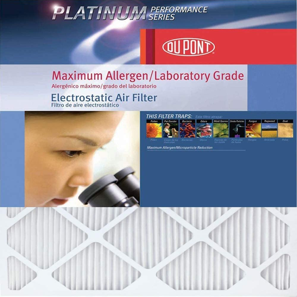 DuPont AF-P1212.4 Platinum Maximum Allergen Air Filter, 12-Inch by 12-Inch by 1-Inch, 4-Pack