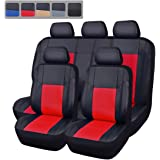 NEW ARRIVAL- CAR PASS Skyline PU LEATHER CAR SEAT COVERS - UNIVERSAL FIT FOR CARS,SUV,VEHICLES (11PCS, SPORT BLACK WITH RED)
