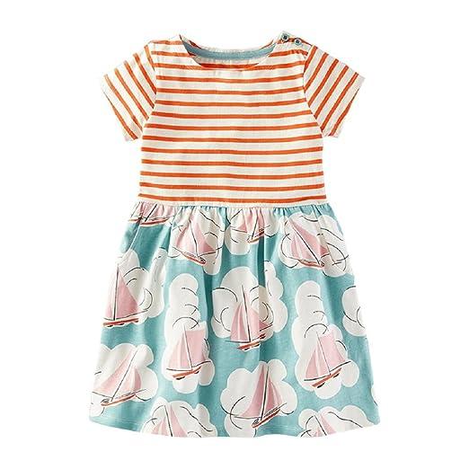 8ccb55e61 Amazon.com  Nuziku Little Girls Summer Casual Dresses Cotton Striped ...