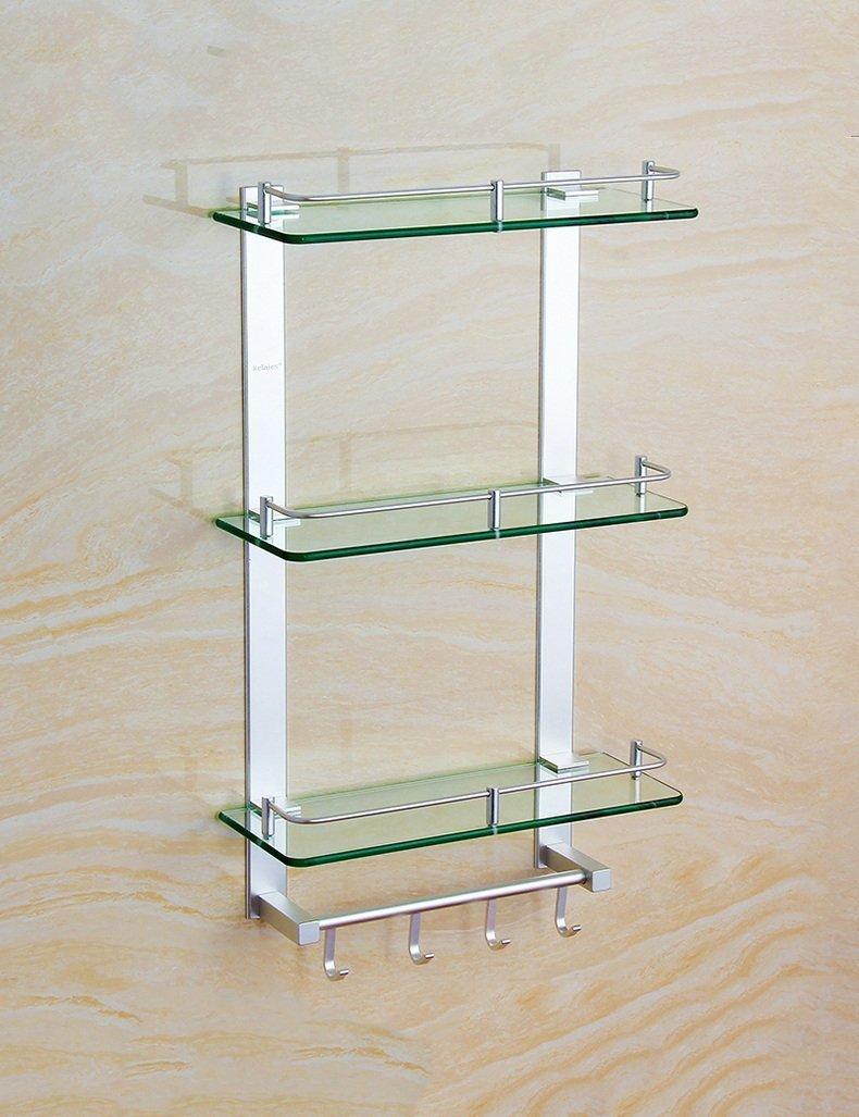 DIDIDD Shelf-Extremely Firm Shower Shelf Space Aluminum Three-Layer Glass Shelf with Rod Storage Rack Glass Shelf Bathroom Hardware Pendant Ensuring Quality,60Cm