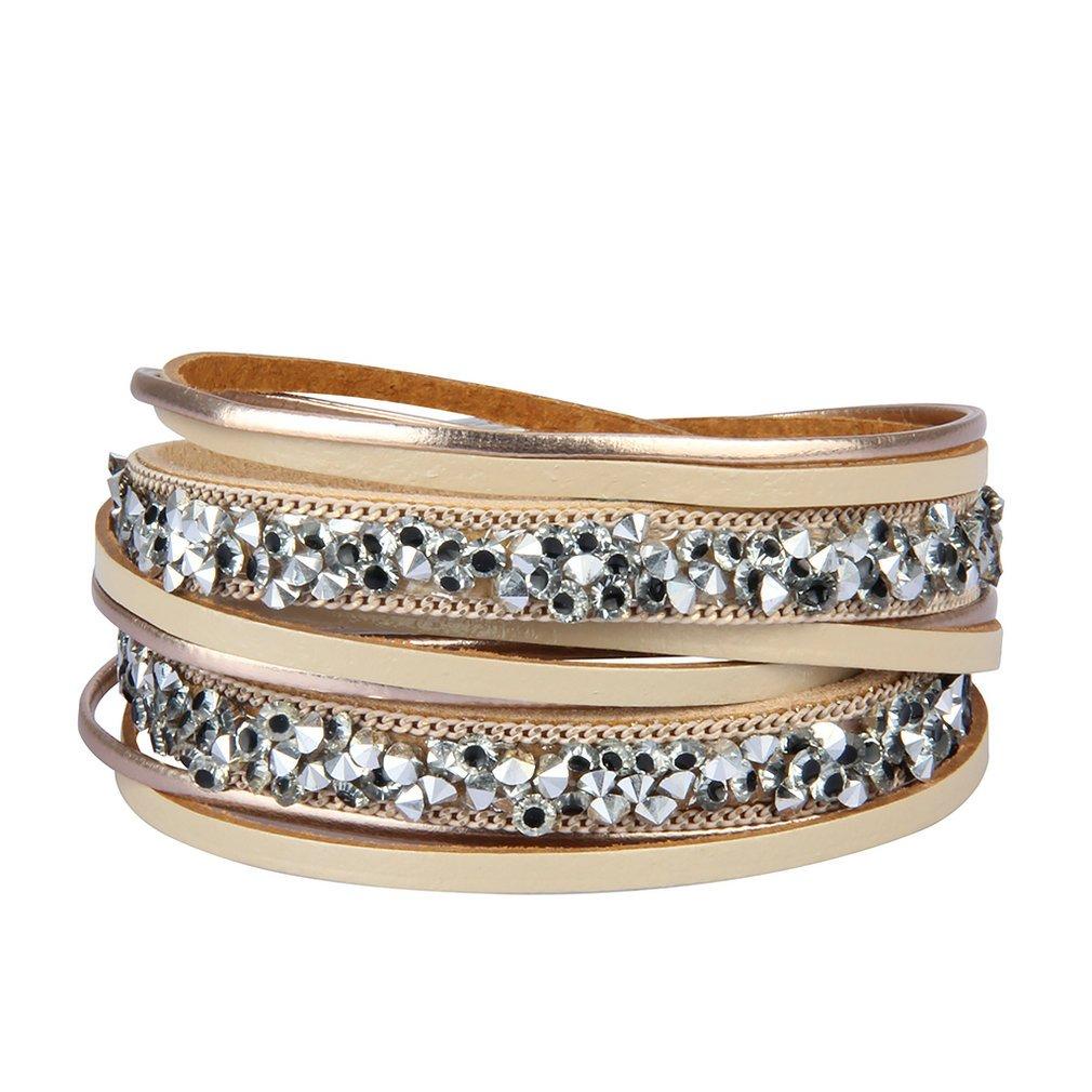 JOYMIAO Fashion Women Wrap Leather Bracelet Handmade Rhinestone Cuff Bangle Bracelets Gifts Girl Birthday Present