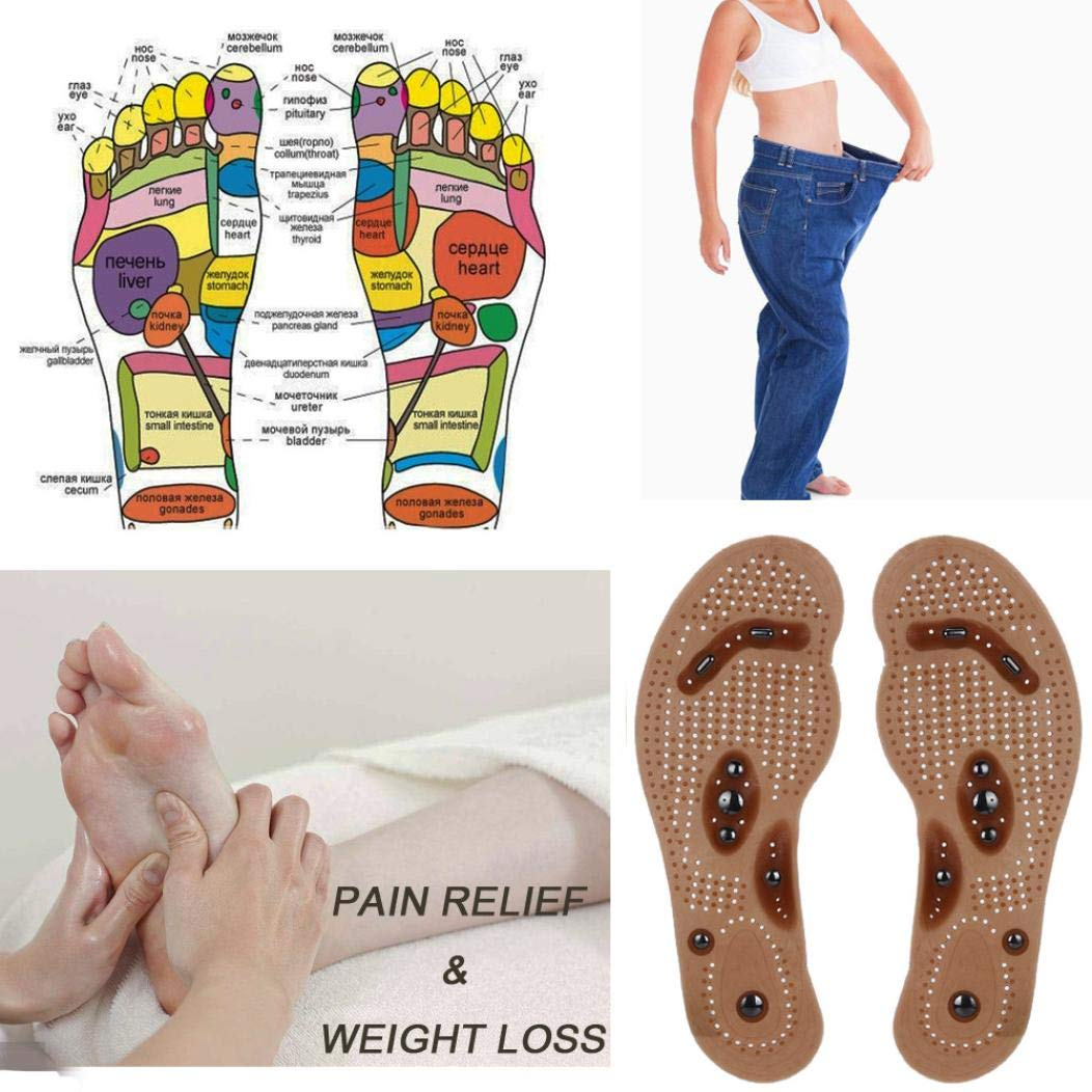 Clearance Sale! Magnetic Massage Insoles for Women and Men, Slimming Magnetic Massage Shoe Insoles Gel Pad Therapy Acupressure Foot Care Cushion (US Size: 6-9) AE Bei