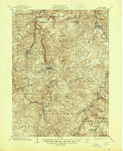YellowMaps Patton PA topo map, 1:62500 Scale, 15 X 15 Minute, Historical, 1904, Updated 1945, 20.8 x 17 in - Polypropylene