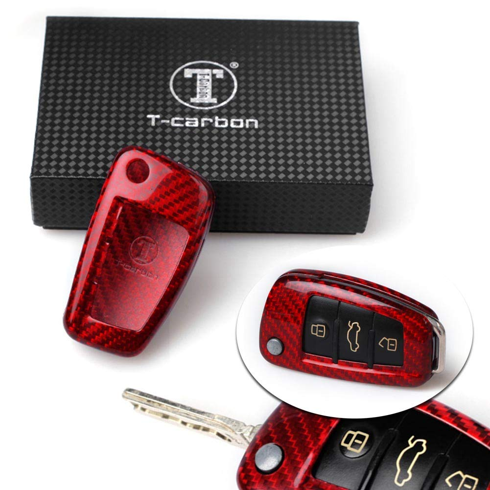 GZYF Auto Remote Car Key Case Shell Cover Fits Audi A6 TT A3 Q3 A1 A4 Q7 S3, Red Carbon Fiber CYSXL-80013-ADB