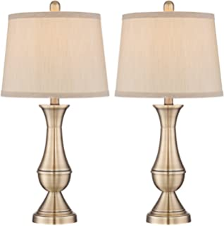 Globe electric set of two 27 table lamps bronze finish beige becky antique brass metal table lamp set of 2 aloadofball Images