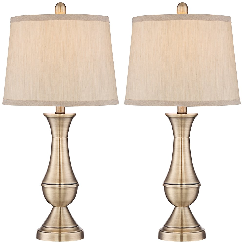 Becky Antique Brass Metal Table Lamp Set of 2 Regency Hill