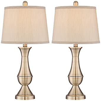 Becky Antique Brass Metal Table Lamp Set Of 2 Amazon Com