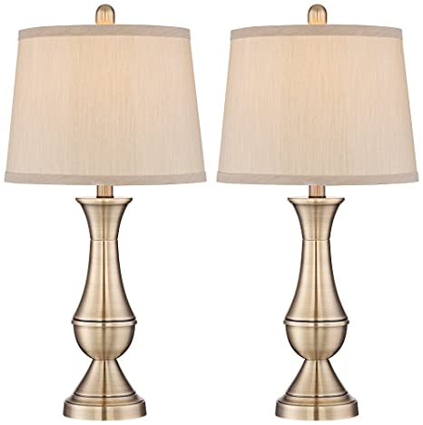 Becky antique brass metal table lamp set of 2