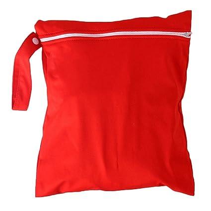 Xiton Bolsa de Cremallera Resistente al Agua Reutilizable Lavable Pañal de Tela Bolsa (Rojo)
