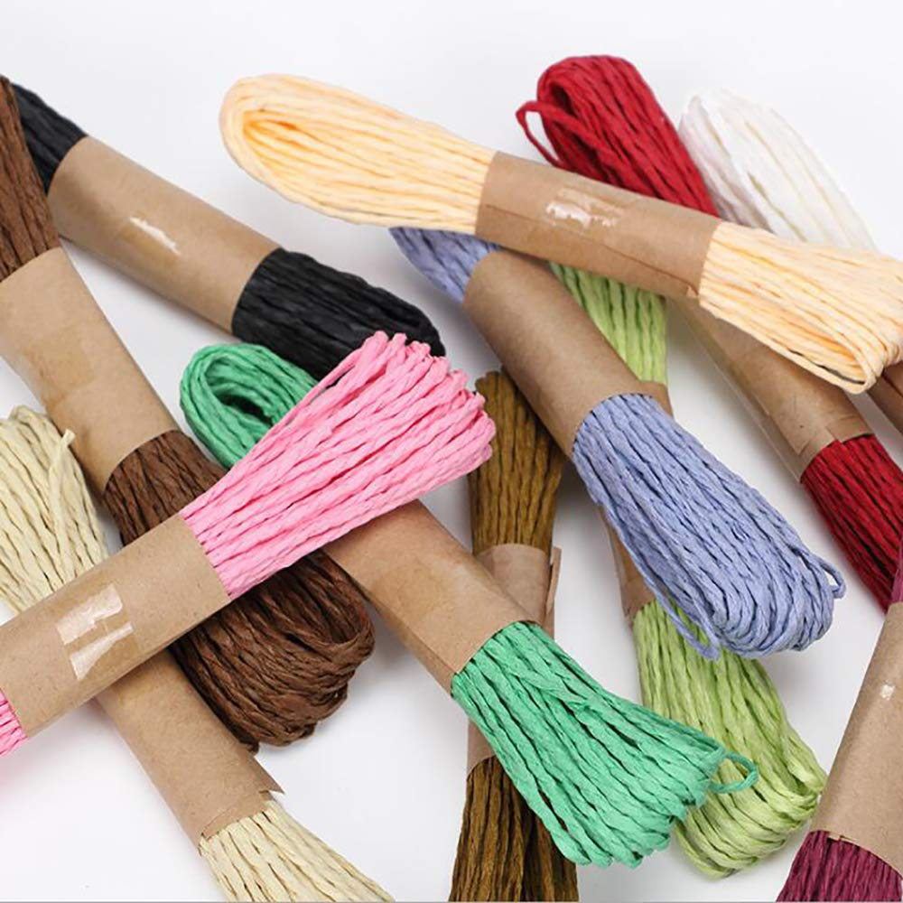 2mm Thickness,32 Yards 30M Raffia Stripes Paper String,Twisted Paper Craft String//Cord//Rope for DIY Making Twisted Paper Craft String//Cord//Rope