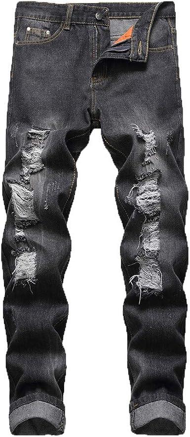 Pantalones Vaqueros Para Hombre Retro Casuales Pantalones Vaqueros Rotos Hombre Jeans Trend Largo Pantalones Pants Skinny Pantalon Ropa Fitness Hombre Jeans Largos Pantalones Vpass Amazon Es Ropa Y Accesorios