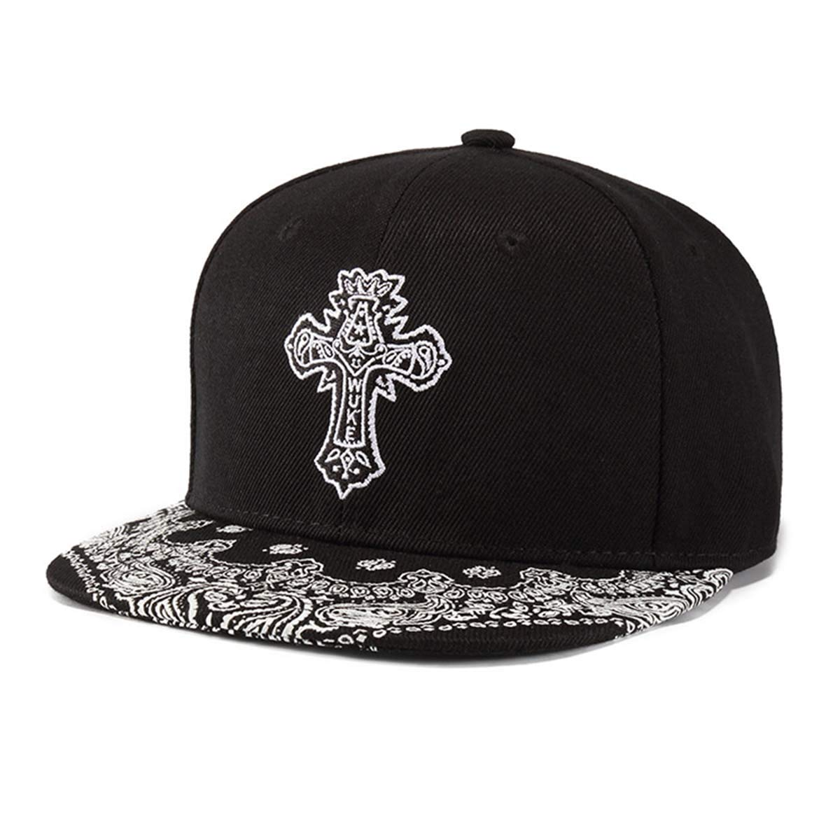 3de226f00d7ab King Star Men Solid Flat Bill Hip Hop Snapback Baseball Cap Black-Cross at  Amazon Men's Clothing store: