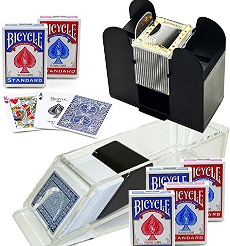 Bundle Includes 8 Items - Trademark Poker Blackjack Dealing Shoe 6-Deck and Casino 6-Deck Automatic Card Shuffler and 6 Decks of Bicycle Poker Size Standard Index Playing Cards by Trademark Poker and Trademark Poker and US Playing Cards