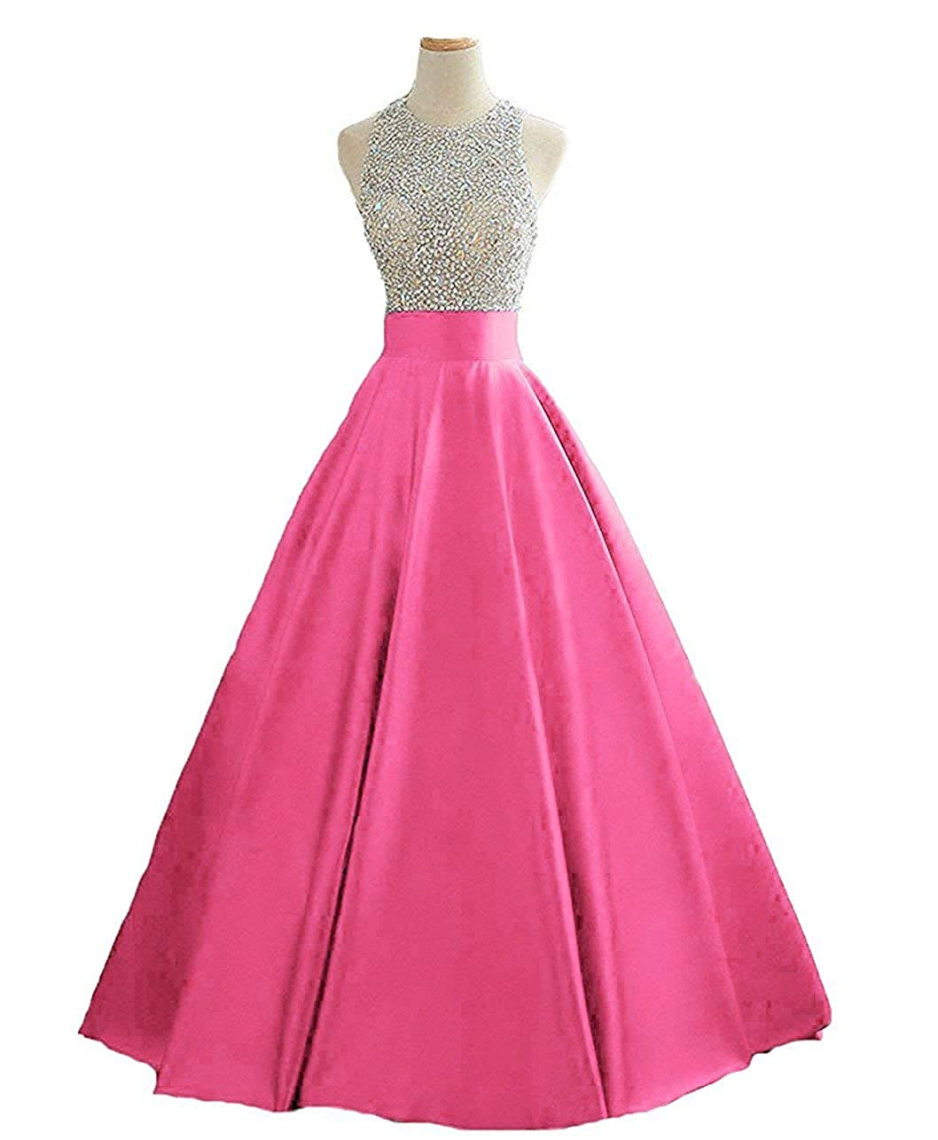 Fuchsia2 Dressytailor Hater Aline Long Sequined Evening Party Gown Beaded Formal Prom Dress with Pockets