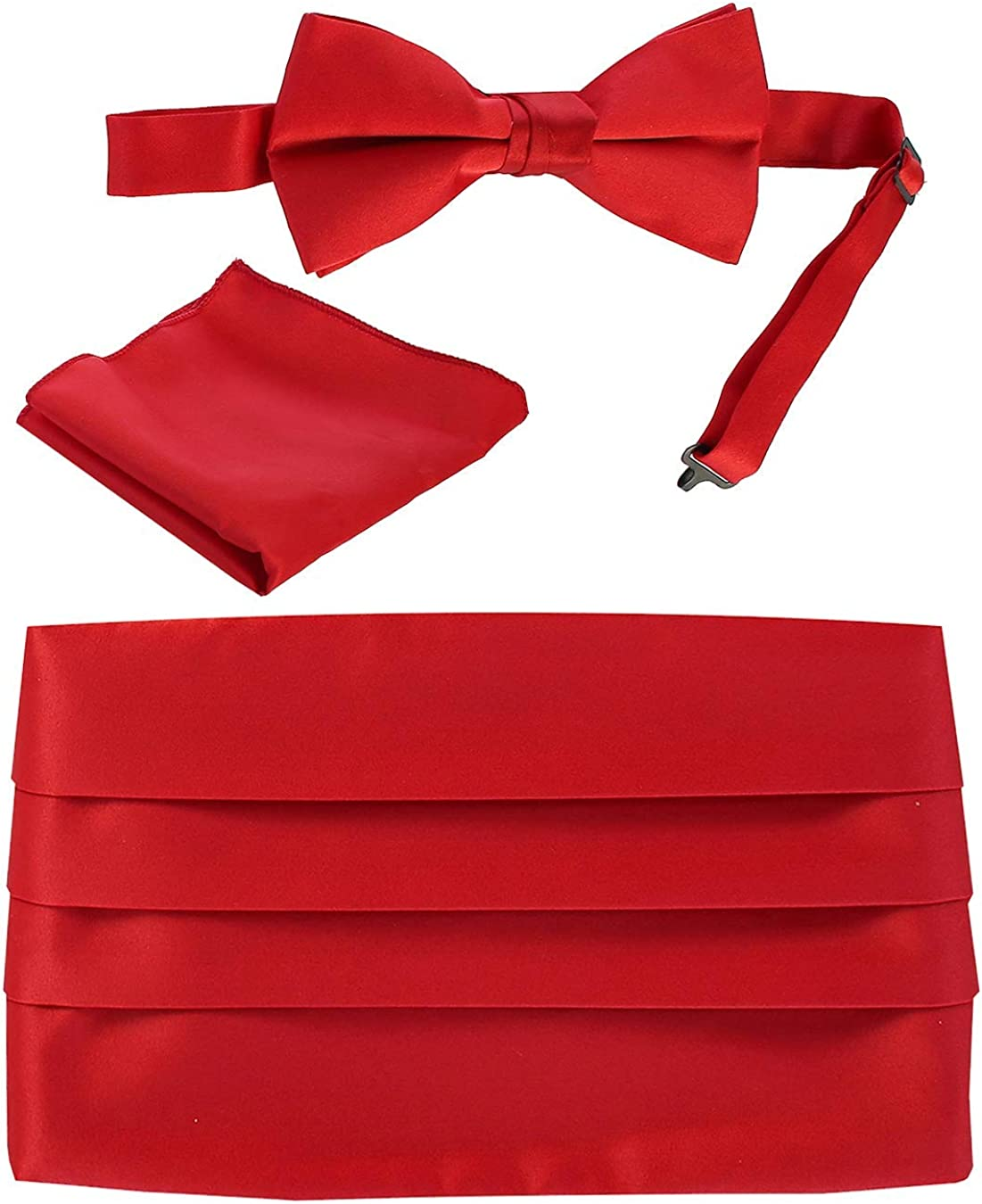 Gioberti Men's Adjustable Satin And Paisley Cummerbund Set With Formal Bow Tie and Pocket Square
