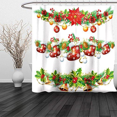 HAIXIA Shower Curtain Christmas Traditional Garland Designs Flowers Socks and Bells Mistletoe Candy Orange Red Green - Boston Red Sox Nutcracker