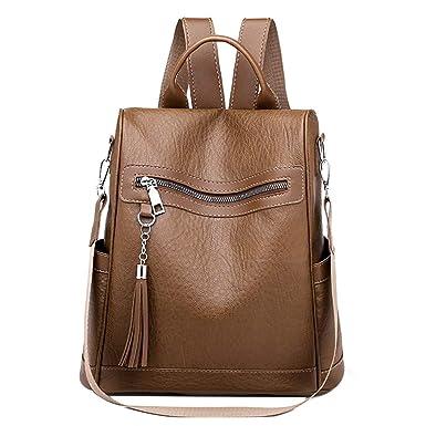 Backpack De Retro De Viaje Mujer Mochila Multifuncional De Cuero Artificial Impermeable Bolsa Antirrobo De Hombro De Fleco Bolsos Totes Con Correa ...
