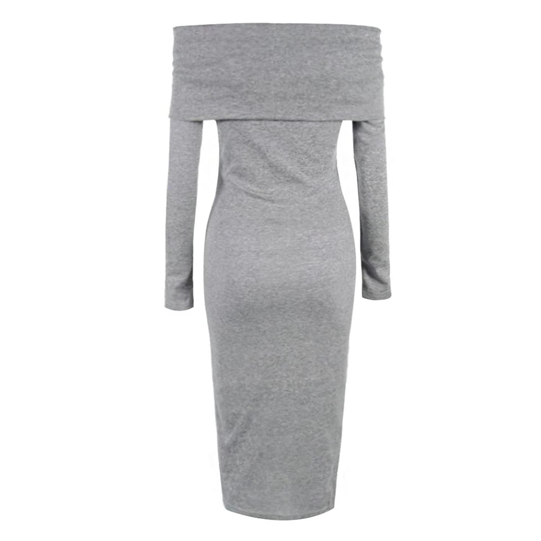 Fineshow Women Elegant Off Shoulder Long Sleeve Stretchy Mini Bodycon Slim Dress