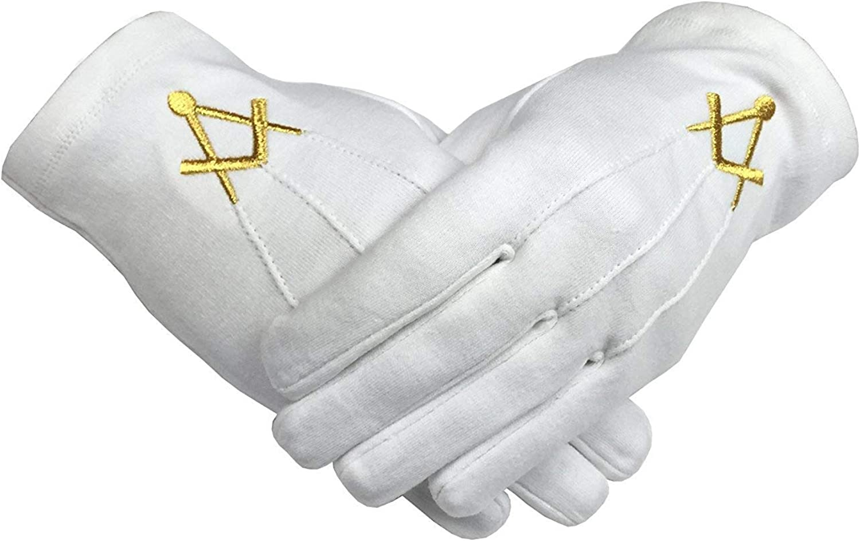 Unbekannt Freimaurer Baumwolle Handschuh mit Golden Mylar Bestickt Winkel und Kompass