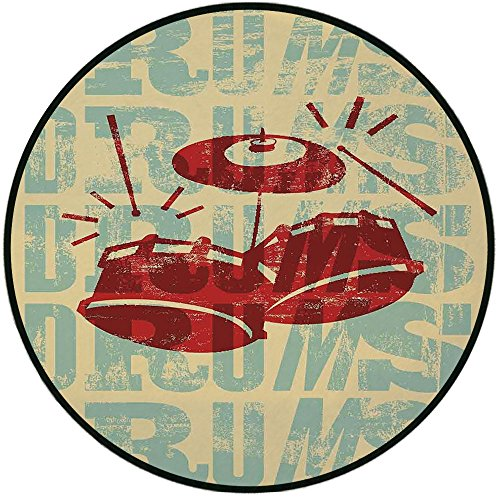 Printing Round Rug,Vintage Decor,Groovy Drumming Poster Desi