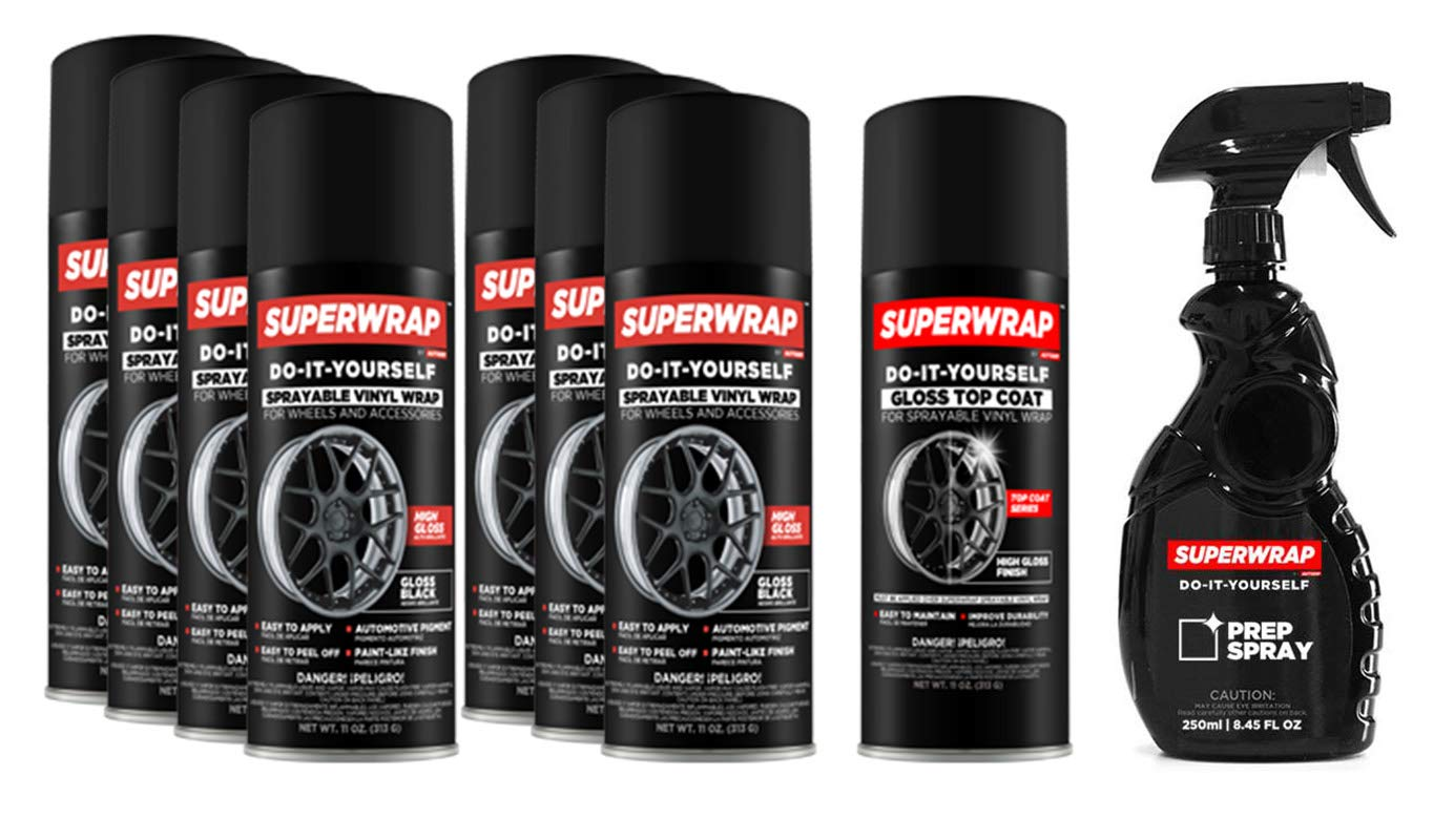 Superwrap Sprayable Vinyl Wrap - Wheels Kits 20'' to 22'' - Gloss Black