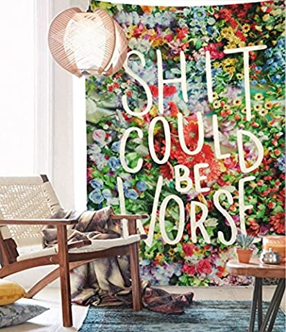 Floral Words Wall Tapestry Fabric Wallpaper Bedspreads Home Decor,60