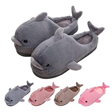 Amazon.com  House Slippers Cute Funny Dolphin Plush Womens Kids Soft ... f620be7ddc