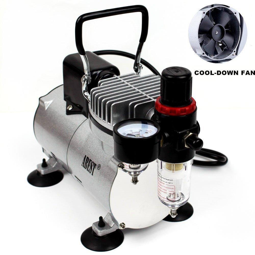 ABEST Compresor del aerógrafo Cool Runner Compresor de aire del mini pistón profesional del alto rendimiento con el regulador, indicador, filtro de la ...