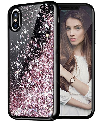 iPhone X Case, Caka iPhone X Glitter Case [Starry Night Series] Luxury Fashion Bling Flowing Liquid Floating Sparkle Glitter Girly Cute TPU Bumper Case for iPhone 10 - (Rose Gold)