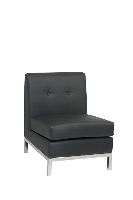 Ave Six Wall Street Faux Leather Armless Chair with Chrome Finish Base, Black