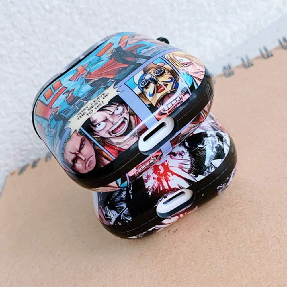 Salemor Anime One Piece Cartoon AirPods1//2 Generation TPU Protective Case Anti-Fall Portable Bluetooth Headphone Box Protective Cover 5Pcs