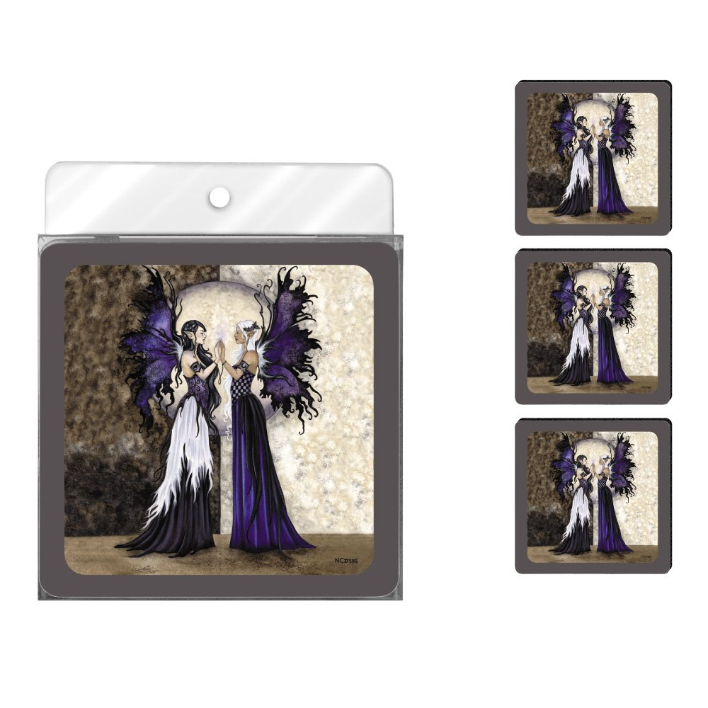 Tree-Free Greetings NC37595 Amy Brown Fantasy 4-Pack Artful Coaster Set, Two Sisters Fairies