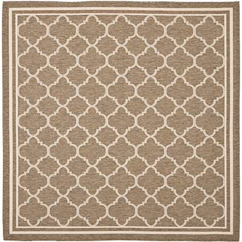 Safavieh Courtyard Collection CY6918-242 Brown and Bone Indoor/ Outdoor Square Area Rug (6'7