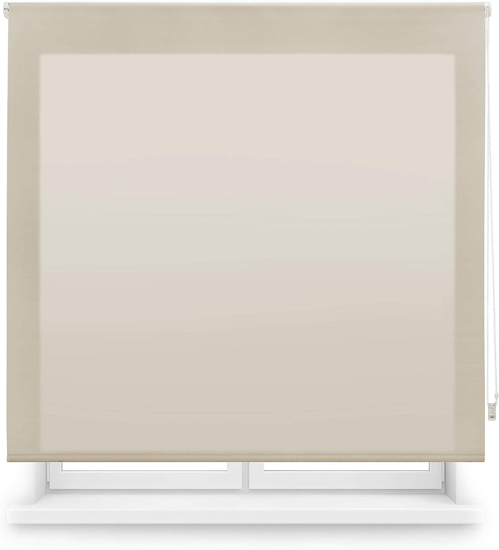 Blindecor Ara - Estor enrollable translúcido liso, Marrón Claro, 160 x 175 cm (ancho x alto)