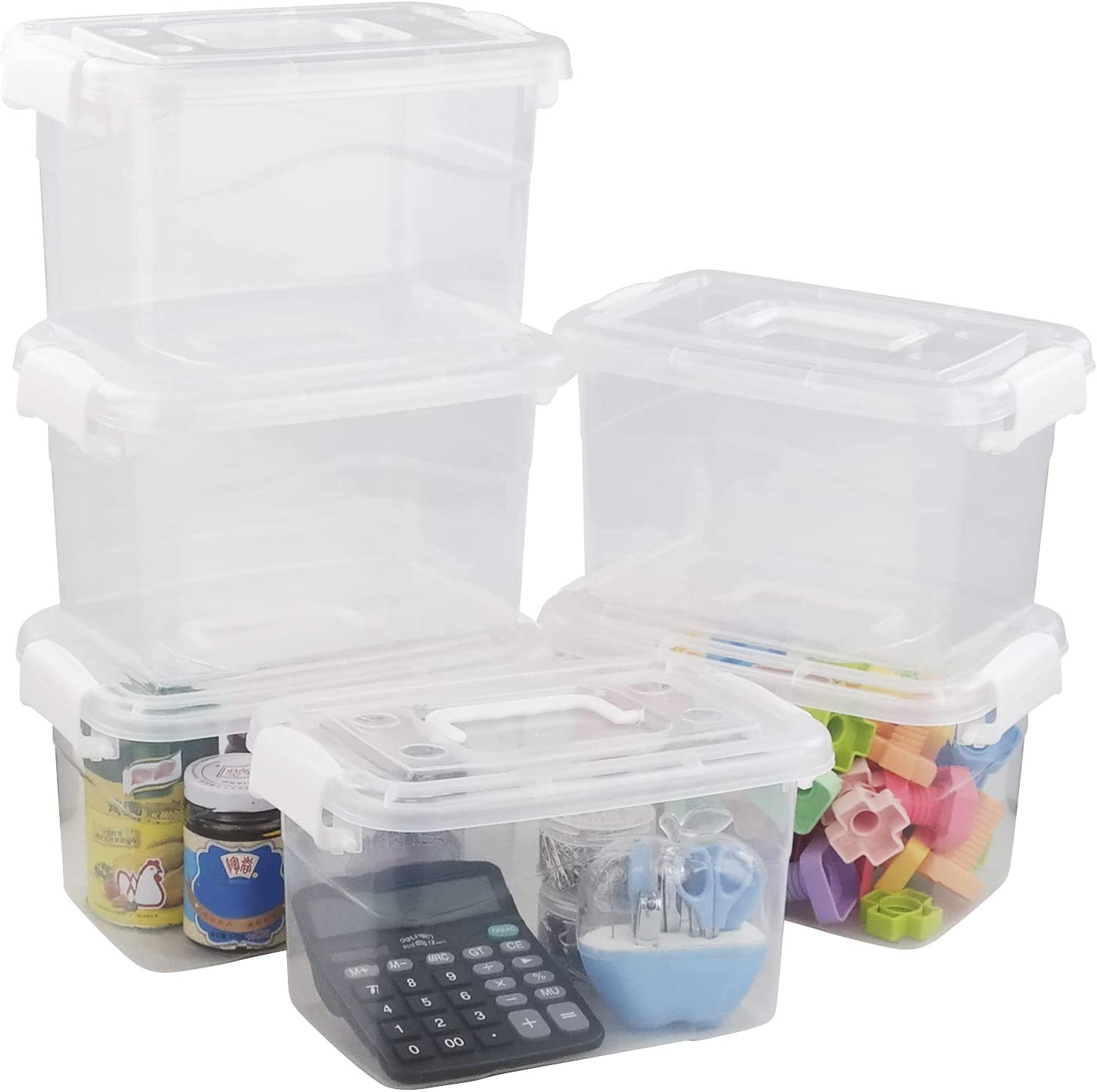 Ponpong Plastic Storage Bins with Lids and Handles Small Latch Boxes, Clear and White, 6 Packs