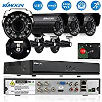 KKmoon Home Security Systems 4CH HD CCTV Surveillance DVR Security System 1080N DVR + 4*720P Camera + 4*60ft Cable + 1TB HDD support IR-CUT Filter Infrared Motion Detection etc