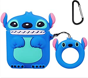 Mulafnxal Compatible with Airpods 1&2 Case,Cute Cartoon Character Silicone Air pod Funny Cover,Kawaii Fun Cool Keychain Design Skin,Fashion Cases for Girls Kids Teens Boys Airpods(3D Blue Stitch)