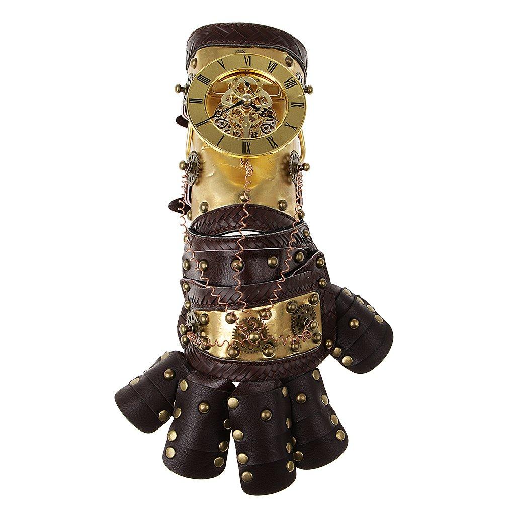 P Prettyia Steampunk Punk Handschuhe Armband mit Nieten Halbfinger aus Kunstleder Kostüm Zubehör Gothic Stil - Farbe 2